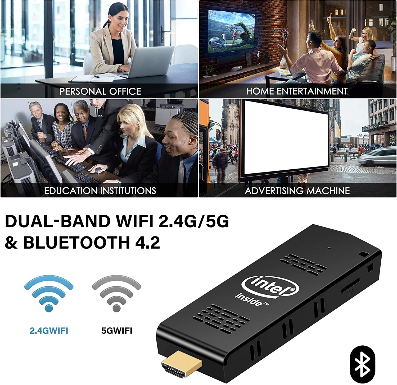 Support Auto-on After Power Failure Bluetooth 4.2 Intel PC Stick 8GB RAM 128GB ROM with Intel Atom Z8350 /& Windows 10 Pro Mini Computer Stick Support 4K HD,Dual Band WiFi 2.4G//5G AIOEXPC