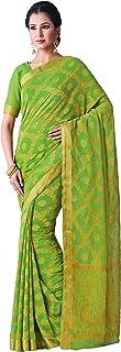 MIMOSA Women's Patola Chiffon Saree With Unstitched Blouse Piece (119_Green)