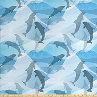 Lunarable Sea Animals Fabric by The Yard, Dolphin Silhouettes with Abstract Ocean Waves Aquatic Life, Decorative Fabric fo...
