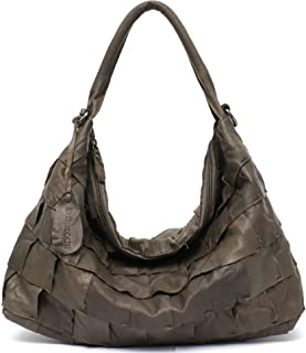 Genuine Leather Women's Shoulder Bag STEPHIECATH Large Casual Soft Real Leather Skin Tote Vintage Snap Basket Carry Bag (TAN) (MEDIUM, GREEN)
