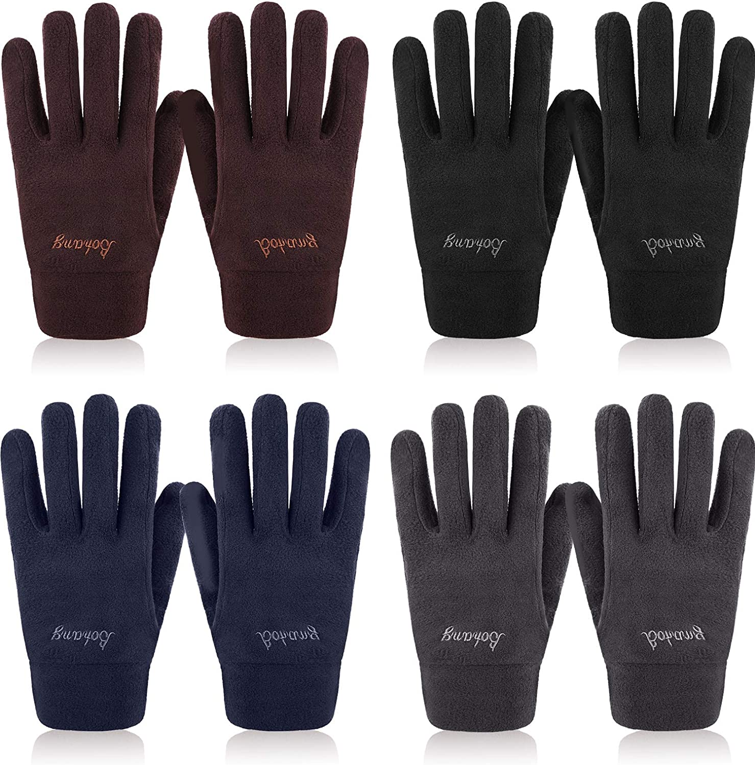 4 Pairs Adult Fleece Gloves Winter Warm Mittens Thick Full Finger Gloves, 4 Colors (Black, Navy Blue, Coffee, Dark Grey)