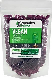 Capsules Express- Size 0 Purple Carrot Empty Vegan Capsules - Vegetarian/Vegetable Pill Capsule - DIY Powder Filling (100)