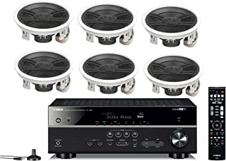 Yamaha 7.2-Channel Wireless Bluetooth 4K Network A/V Wi-Fi Home Theater Receiver + Yamaha Custom Install 3-Way 100 watts In-Wall/Ceiling Speaker Surround Sound Home Theater Speaker Package (Set Of 6)