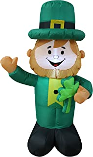 BZB Goods 4 Foot Tall Lighted St Patricks Day Inflatable Leprechaun Holding Shamrock Cute Lucky Indoor Outdoor Lawn Yard Art Decoration