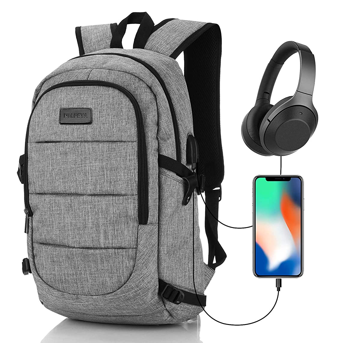 NIAFEYA Laptop Backpack, Travel Business School Laptop Outdoor Backpack, Lightweight Waterproof with USB Charging Port Headphone Hole, for Women Men Student, Fit 15.6 Inch Laptop Computer - Gray