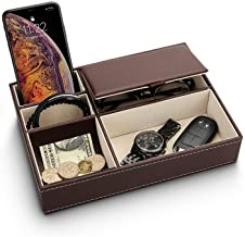Baoyun Mens Valet Tray Organizer – Leather Nightstand Dresser Top Box with 5..