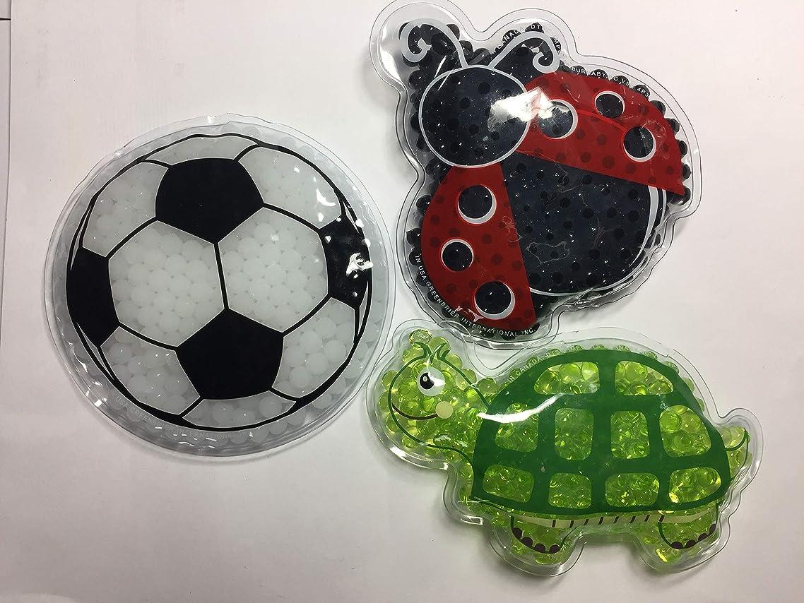 Set of 3 Kids -Child Reusable Animal Shaped Cold Packs Soccer Ball, Turtle, Ladybug)