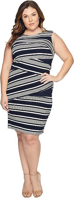 Plus Size Sleeveless Stripe Bodycon Dress