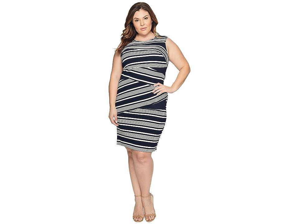 Adrianna Papell Plus Size Sleeveless Stripe Bodycon Dress (Blue Moon/White) Women
