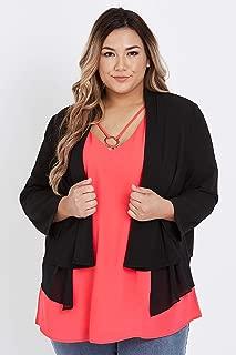 Beme 3/4 Sleeve Chiffon Layered Jacket - Womens Plus Size Curvy