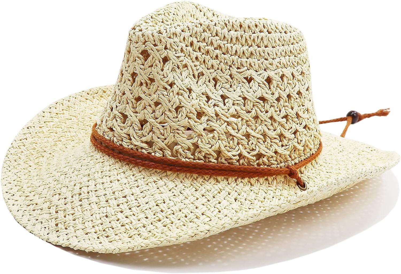 jiaoji Men & Women's Woven Straw Cowboy Cowgirl Straw Hat Cowboy Hats for Women Cowboy Hat Shapeable Brim, Beach Cowgirl