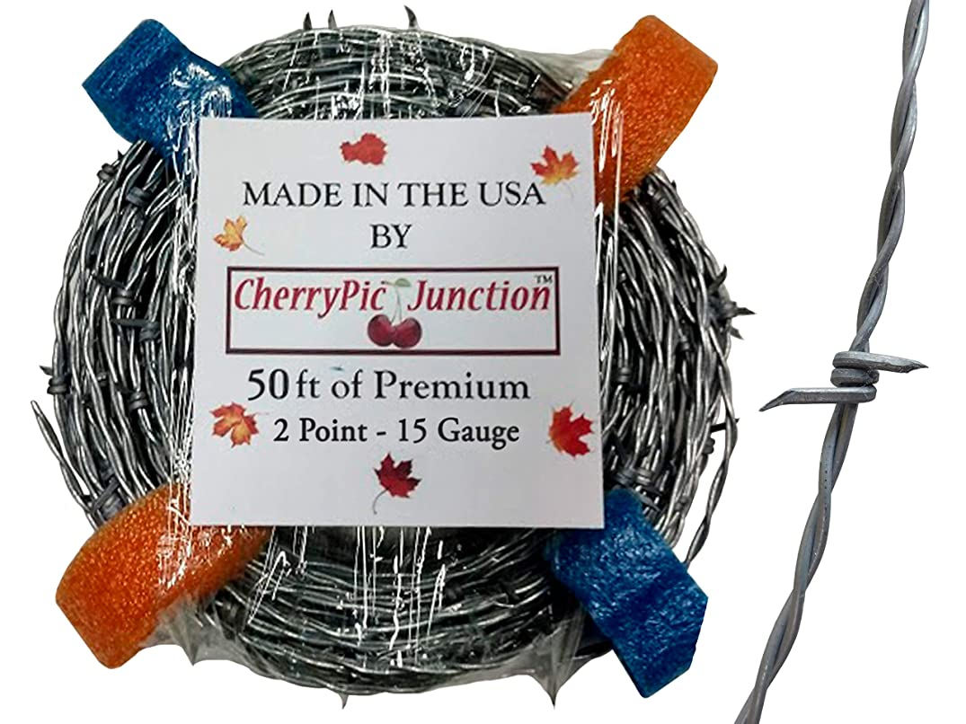 50 Feet - Real Barbed Wire - 15 Gauge 2 PT - for Crafts and Yard - Made in USA
