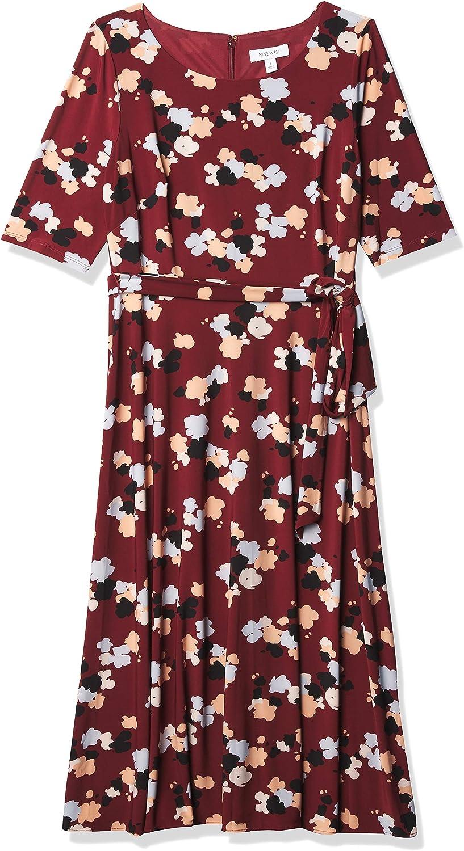 NINE WEST Women's Fit & Flare Midi Dress