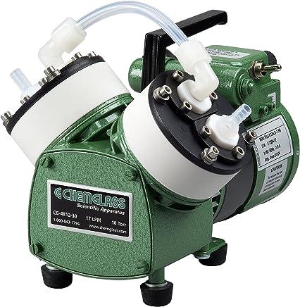 Chemglass CG-4812-30 Vacuum Pump, Oil-Free Diaphragm, 17 LPM