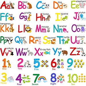 Alphabet Wall Stickers Kids Toddler Decors Animal ABC Stickers Removable Letters Number Decals Girls Boys Nursery Bedroom Living Room