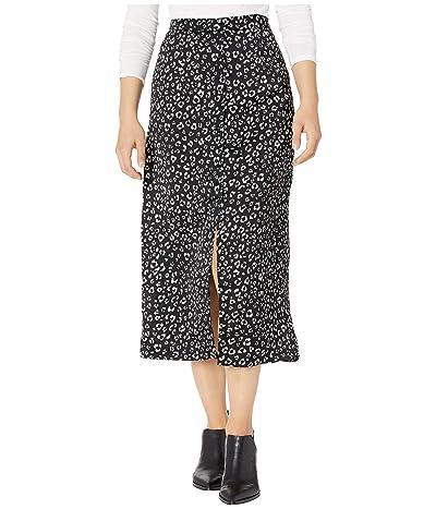 Jack by BB Dakota Rare Breed Leopard Printed Reverse Crepon Button Front Midi Skirt (Black) Women