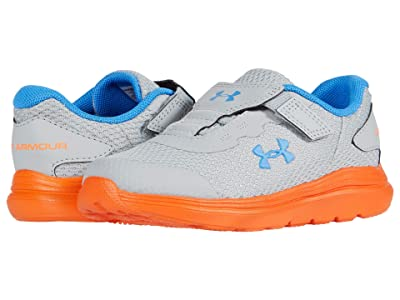 Under Armour Kids Surge 2 (Toddler) (Mod Gray/Orange Spark/Water) Boys Shoes