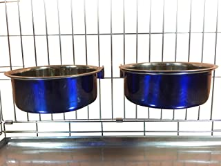 Ellie-Bo Pair of Dog Bowls For Crates, Cages or Pens and 3 Sizes (2.0Ltr Large, Blue)