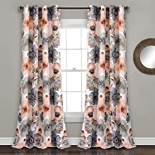 "Lush Decor Leah Floral Darkening Coral and Gray Window Panel Curtain Set for Living, Dining Room, Bedroom (Pair), 84"" L"