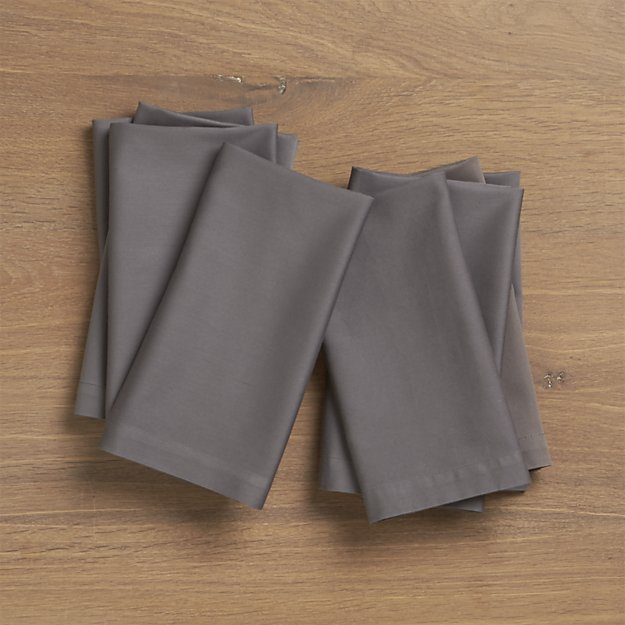 Fete Pewter Grey Cloth Napkin | Crate and Barrel