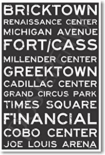 Detroit Signs - NEW World Travel City Train Station Street Sign Poster