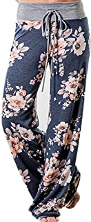 Women's High Waist Casual Floral Print Drawstring Wide Leg Pants