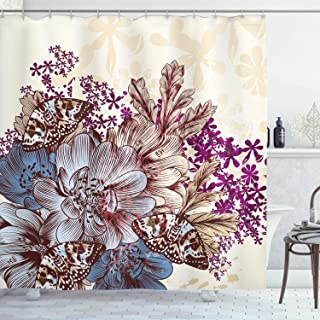 Ambesonne Floral Shower Curtain by, Hand Drawn Pastel Color Flowers with Butterflies Vintage Detailed Image, Fabric Bathroom Decor Set with Hooks, 70 Inches, Blue Purple White Brown