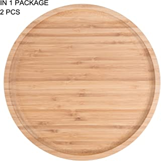2-Pack Bamboo Round Plates,12 Inches Cheese Plates Coffee Tea Serving Tray Fruit platters Party Dinner Plates Sour Candy Tray