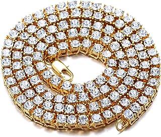 سلسلة ذهبية للرجال من هالوكاه مطلية بالذهب الابيض، سلسلة تنس 5.5 ملم عيار 18، مطلية بذهب حقيقي، عقد 60 سم من مجموعة لاب دا...