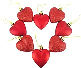 8 x 5cm RED Glitter + Matt Heart Shaped Christmas Tree Baubles