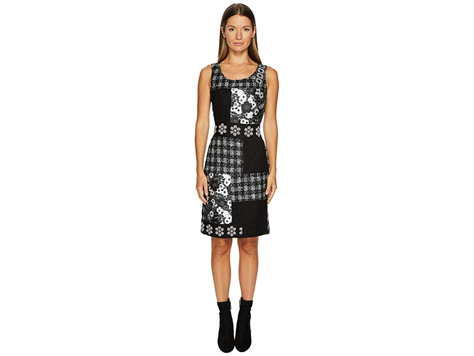 Boutique Moschino Patchwork Tweed Dress (Black/White) Women