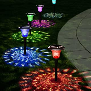 Solar Pathway Lights Outdoor Garden Color Changing Landscape Lighting Auto For