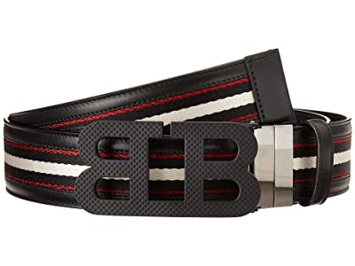 Bally Mirror B 40 M.TSP/70 Belt (Black/Bone/Black/Red) Men