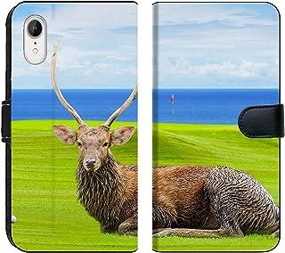 Liili Premium iPhone XR Flip Micro Fabric Wallet Case Chital Deer Spotted Deer Axis Deer on Green Image ID 39491092