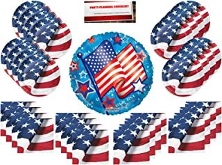 Patriotic American Flag Red White and Blue Party Supplies Bundle Pack for 16 (with 18 Inch Balloon Plus Party Planning Checklist by Mikes Super Store)