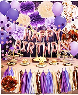 Womens Birthday Decorations Purple Champagne Rose Gold Happy Birthday Ballons Rose Gold Confetti Balloons Girl Purple Birthday Party Decorations for Women's 30th/40th/50th/60th Birthday