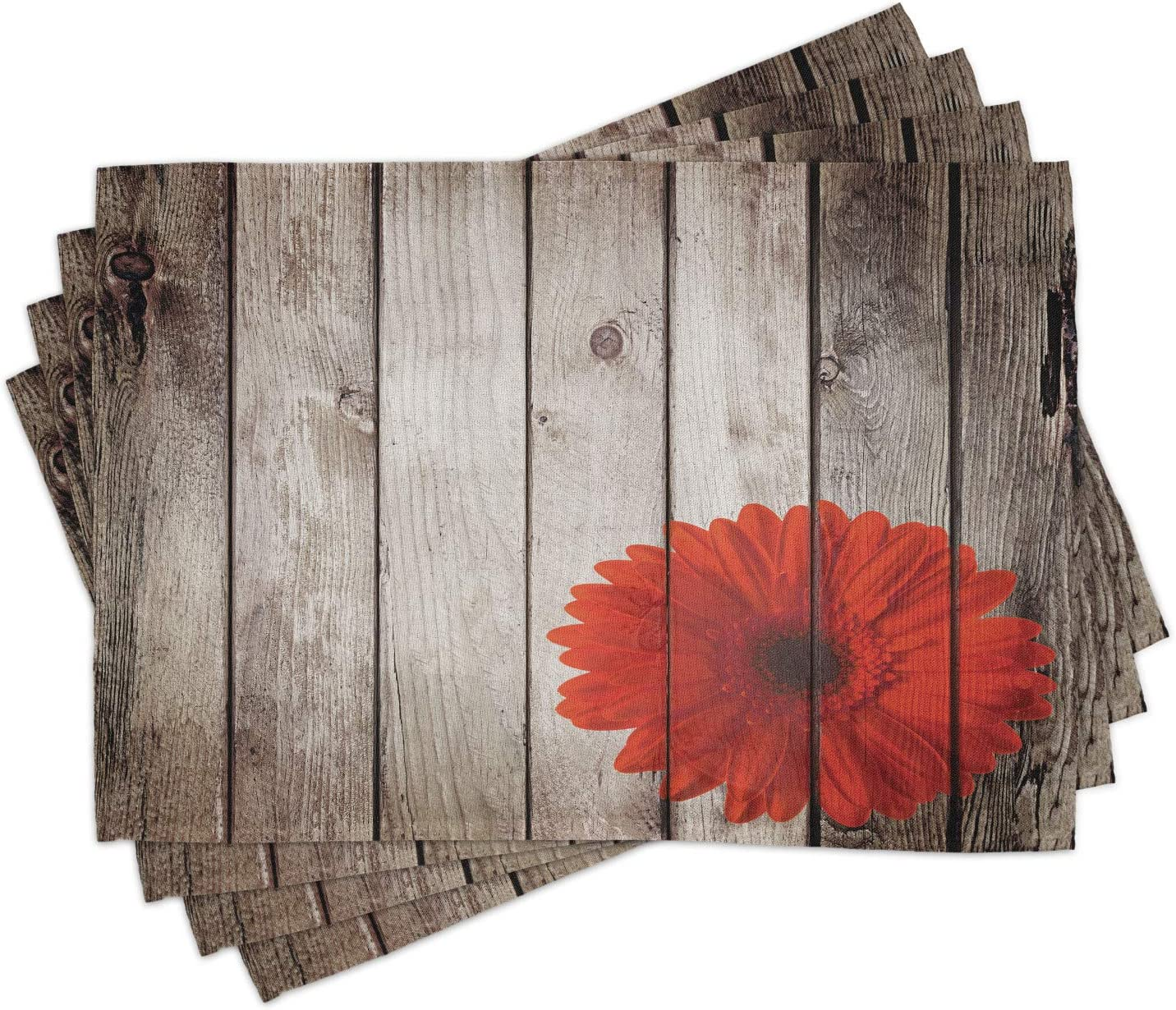 Lunarable Rustic Place Special Campaign Safety and trust Mats Set of on Flower Dahlia Red 4 Foreg