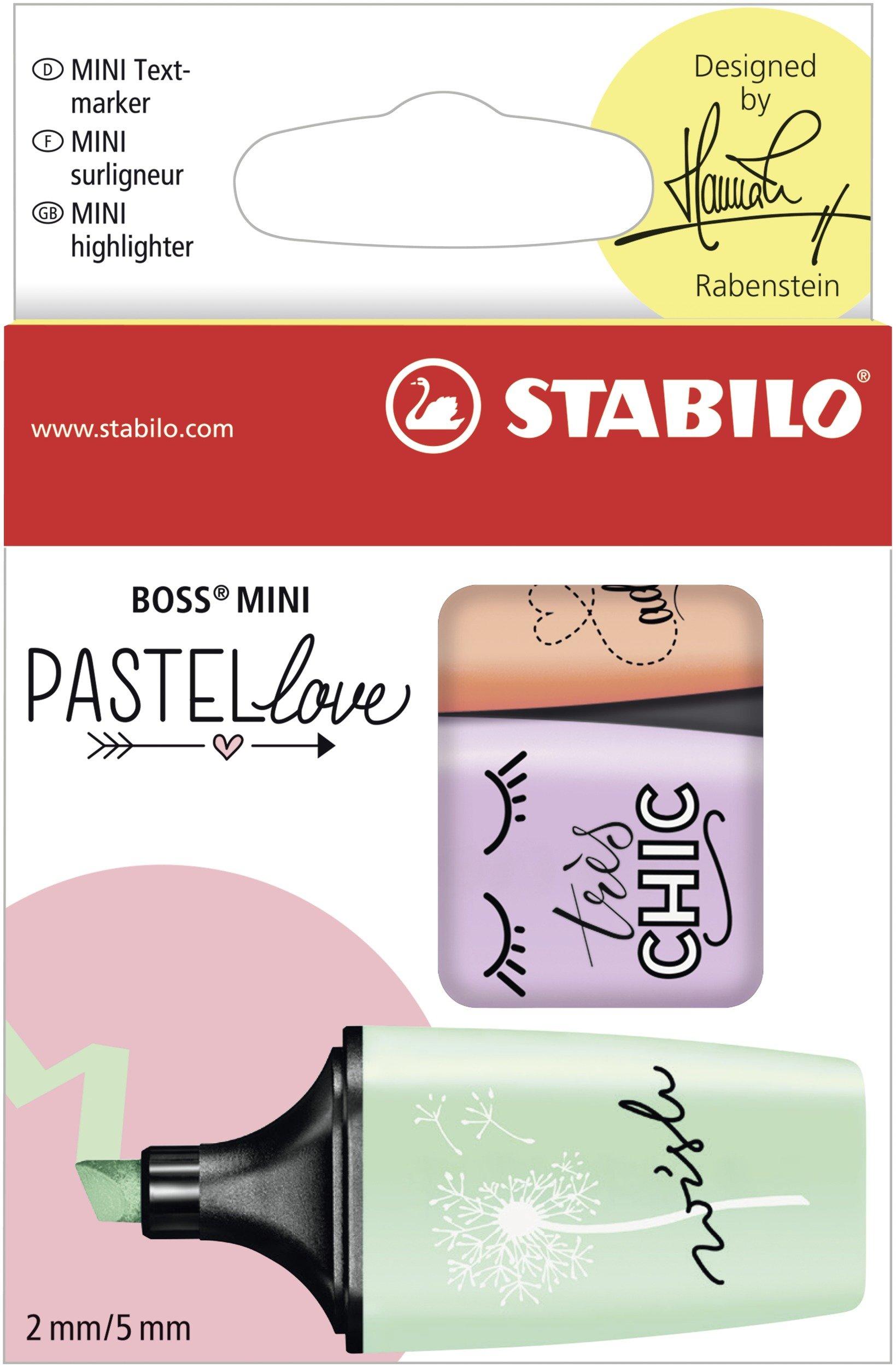 Marcador pastel STABILO BOSS mini - Edición Pastel Love - Estuche con 3 colores: Amazon.es: Oficina y papelería