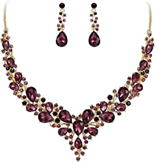 Women's Wedding Bridal Austrian Crystal Teardrop Cluster Statement Necklace Dangle Earrings Set