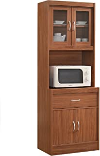 Hodedah Long Standing Kitchen Cabinet with Top & Bottom Enclosed Cabinet Space, One Drawer, Large Open Space for Microwav...