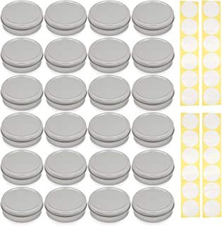 SimbaLux Screw Top Round Steel Tin Cans 2 oz (60 ml) with Self Adhesive White Round Stickers, 24-Pack