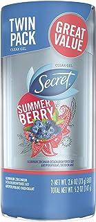 Secret Antiperspirant and Deodorant for Women, Fresh Clear Gel, Summer Berry Scent, 2.6 Oz Pack of 2