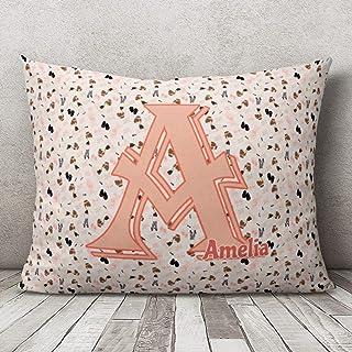 Tr73ans - Funda de almohada personalizada para guardería, funda de almohada para niños con nombre, bailarina, funda de almohada monograma