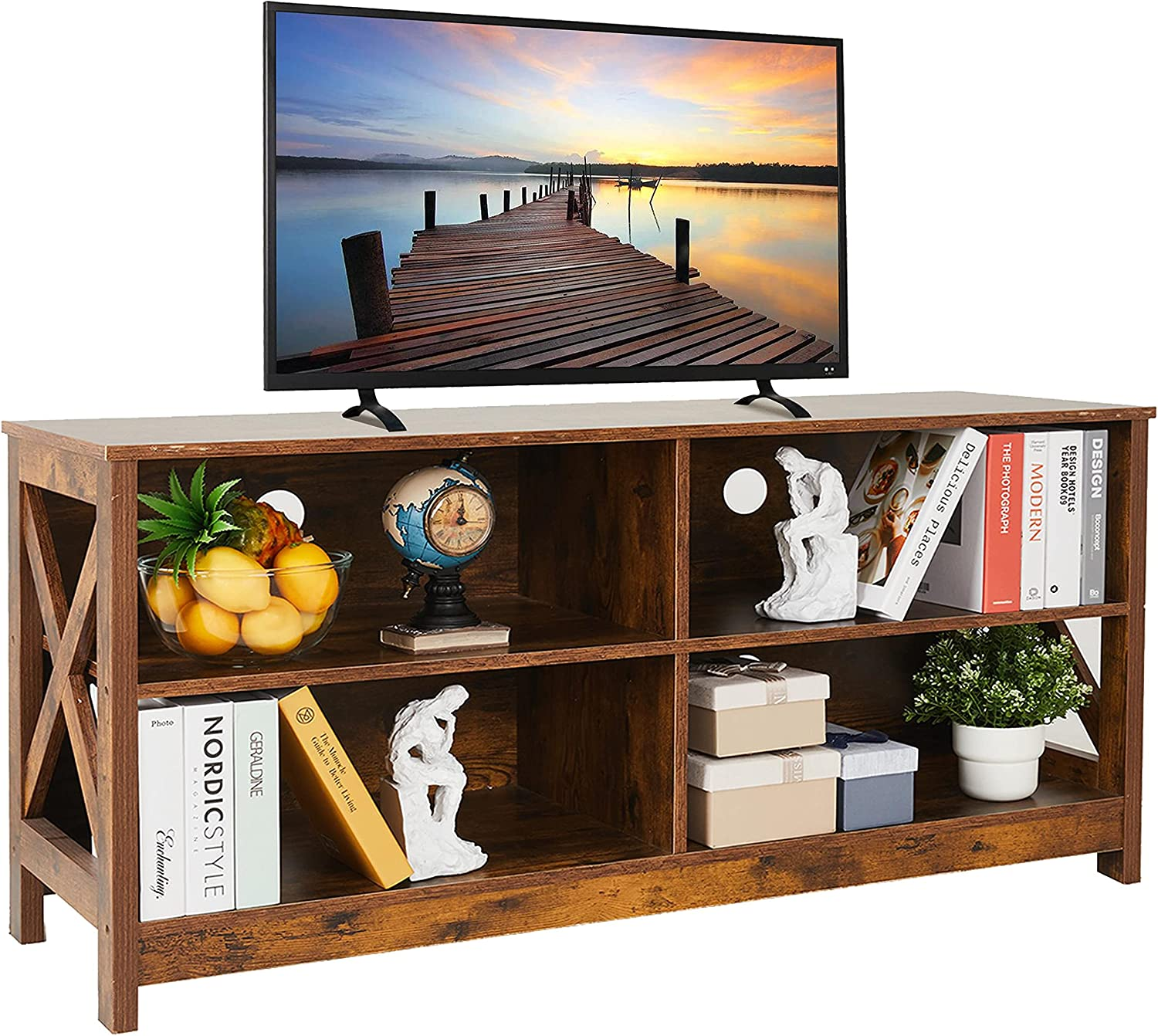 Saedew TV Stand for 55 Inch 50 Limited price sale Wood Entertainment Super beauty product restock quality top!