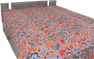 Indian Cotton Bed cover Blanket Bohemian Bedspread Twin Size Kantha Quilt Throw