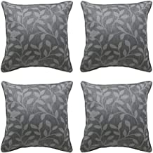 Alexandra Cole Floral Leaf Lumbar Throw Pillows Covers 18x18 Square Decorative Pillowcases for Sofa Bed Set of 4 Dark Grey