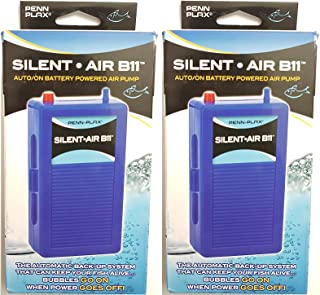 (2 Pack) Silent Air B11 Battery Operated Aquarium Air Pump For Power Outage Automatic Turn On Keeps Fish Safe Up to 29 Gallons