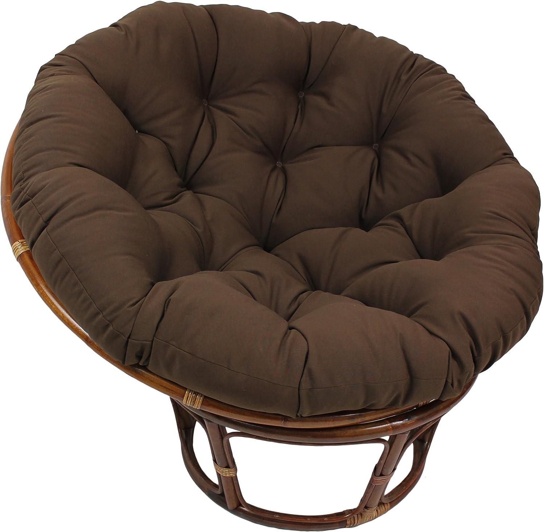 Blazing Needles Solid Twill Papasan Chair Cushion, 48  x 6  x 48 , Steel Grey