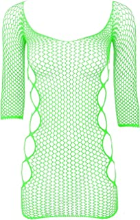 Aiihoo Women's Hollow Out Fishnet Bodystocking Mini Dress Half Sleeves Sexy Babydoll Chemise Lingerie
