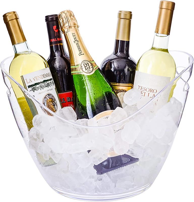 Ice Bucket Clear Acrylic 8 Liter Plastic Tub For Drinks And Parties Food Grade Holds 5 Full Sized Bottles And Ice